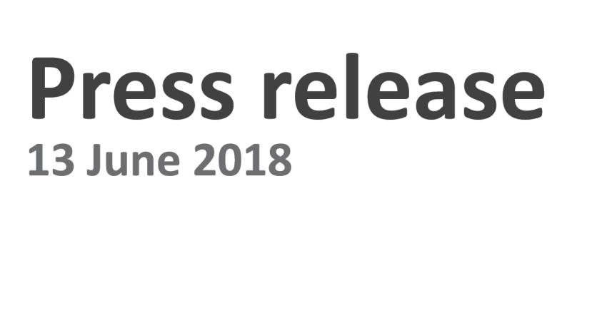Persbericht 13 juni2018